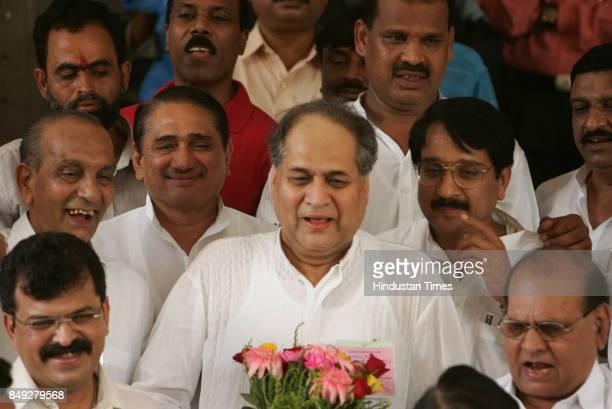 Rajya Sabha Elections Industrialist Rahul Bajaj coming out of Vidhan Bhavan after winning the Rajya Sabha seat Also seen Jitendra Avhad Pandurang...