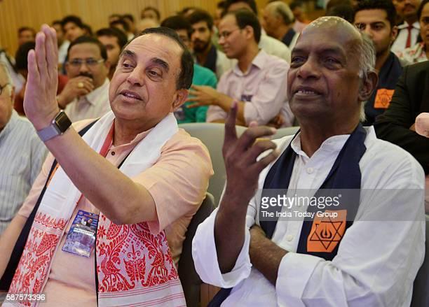 Rajya Sabha members Subramanian Swamy and former RSS ideal K N Govindacharya at a seminar on 'Emergency' organised by Virat Hindustan Sangam in New...