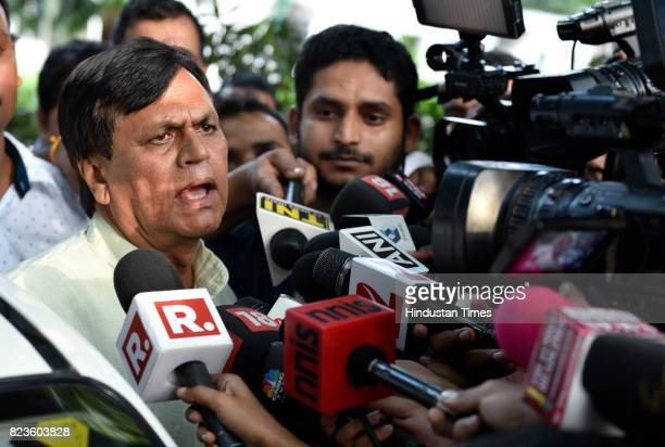 Rajya Sabha MP Ali Anwar after meeting with party leader Sharad Yadav at his residence on July 27 2017 in New Delhi India Nitish Kumar called off the...