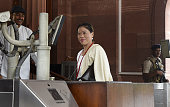 Rajya Sabha MP and Boxer Mary Kom during the Parliament Monsoon Session on July 18 2016 in New Delhi India A total of 25 bills including the crucial...