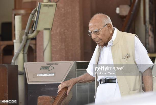 Rajya Sabha MP Ram Jethmalani at Parliament during the second leg of Budget Session on April 10 2017 in New Delhi India The Lok Sabha passed the...