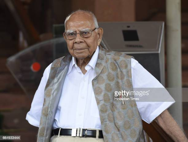 Rajya Sabha MP Ram Jethmalani attending the Parliament Budget Session on April 5 2017 in New Delhi India Employees suffering injury in industrial...