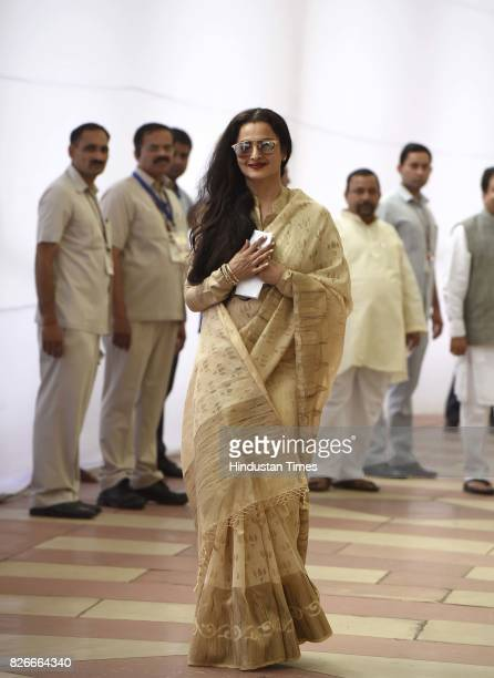 Rajya Sabha MP Rekha after casting her vote for Vice Presidential Election at Parliament House on August 5 2017 in New Delhi India Parliamentarians...