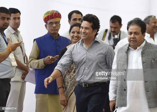 Rajya Sabha MP Sachin Tendulkar after casting his vote for Vice Presidential Election at Parliament House on August 5 2017 in New Delhi India...