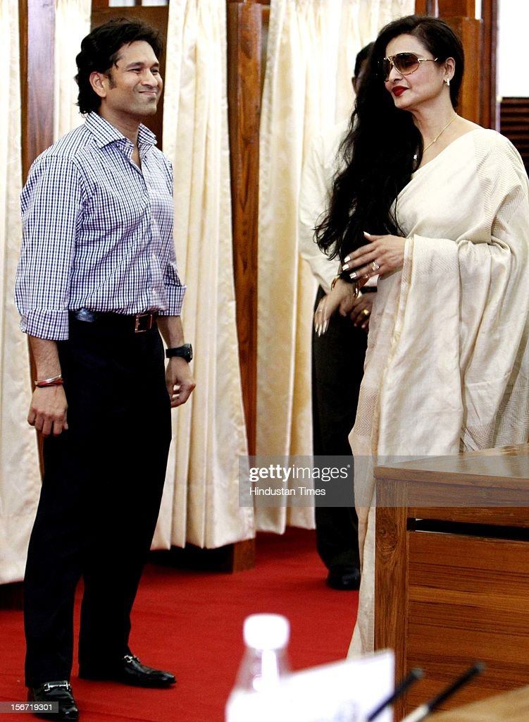 'NEW DELHI, INDIA - AUGUST 7: Rajya Sabha MP, Sachin Tendulkar and Rekha arrive to cast their votes for the election of Vice President at Parliament house on August 7, 2012 in New Delhi, India. (Photo by Sunil Saxena/Hindustan Times via Getty Images)'