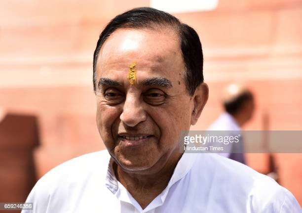 Rajya Sabha MP Subramanian Swamy during the Parliament Budget Session part2 on March 28 2017 in New Delhi India The government has listed the Goods...