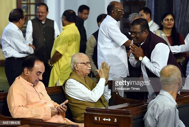 Rajya Sabha MP Subramanian Swamy sr BJP leader and Lok Sabha MP Lal Krishna Advani meet new Ministers of State during the birth anniversary of Dr...
