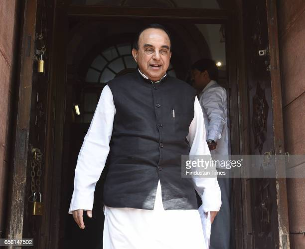 Rajya Sabha MP Subramanian Swamy talking to media person on the issue of Ram Mandir issue in the Supreme Court during the Parliament Budget Session...
