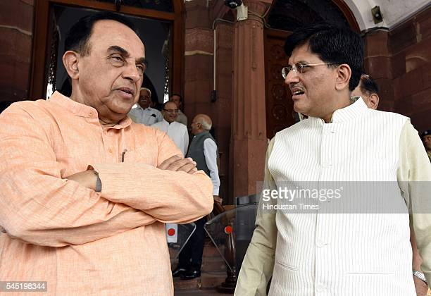Rajya Sabha MP Subramanian Swamy with Minister of State with Independent Charge for Power Coal New and Renewable Energy Piyush Goyal during the birth...