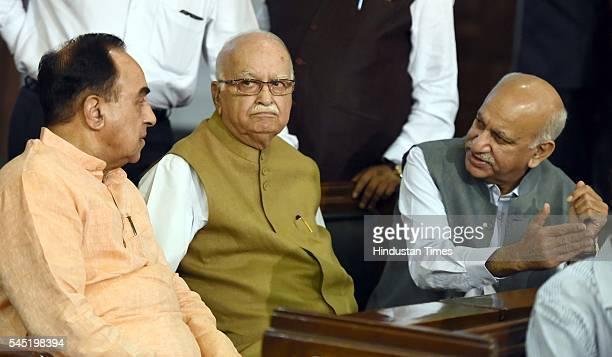 Rajya Sabha MP Subramanian Swamy with Sr BJP leader and Lok Sabha MP Lal Krishna Advani and new Minister of State MJ Akbar during the birth...