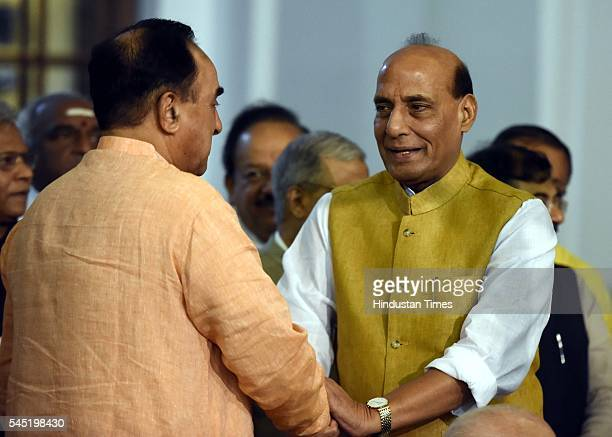 Rajya Sabha MP Subramanian Swamy with Union Home Minister Rajnath Singh during the birth anniversary of Dr Syama Prasad Mookerjee at Central Hall of...