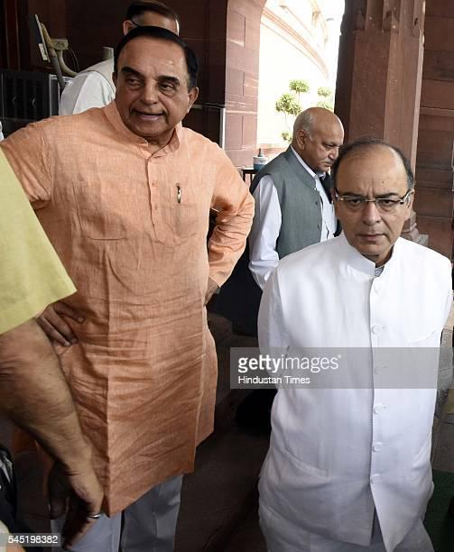 Rajya Sabha MP Subramanian Swamy with Union Minister of Finance Arun Jaitley during the birth anniversary of Dr Syama Prasad Mookerjee at Central...