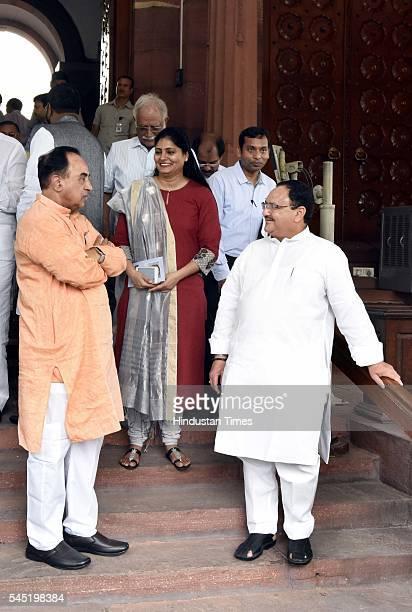 Rajya Sabha MP Subramanian Swamy with Union Minister of Health and Family Welfare JP Nadda and Minister of State Health and Family Welfare Anupriya...