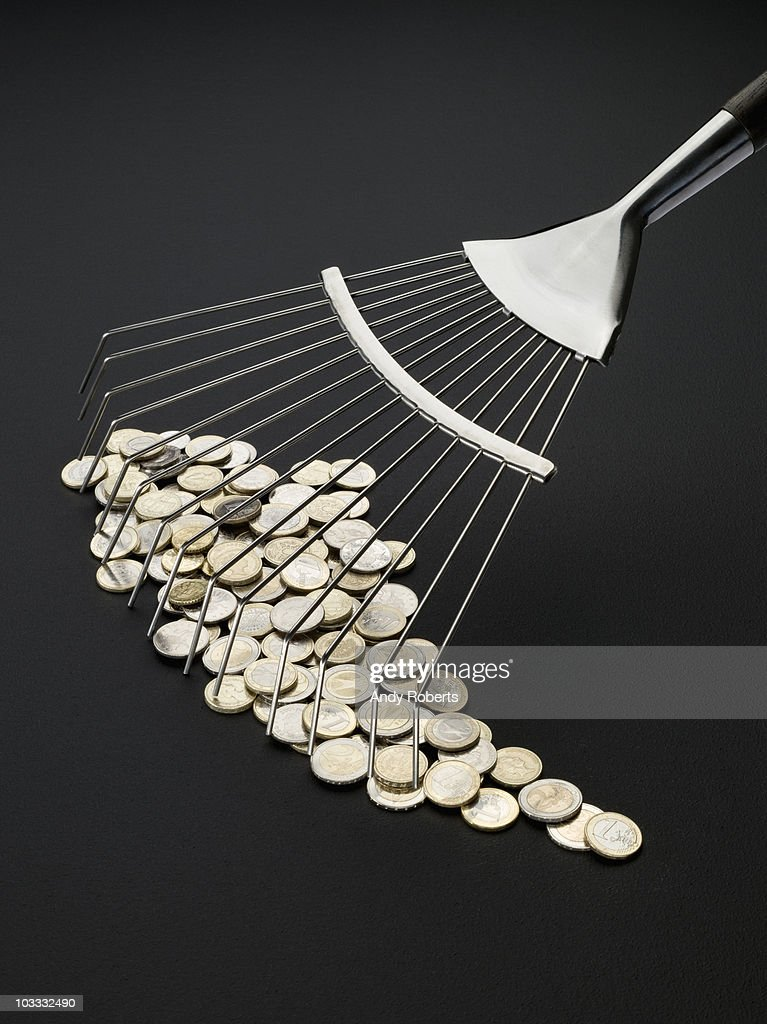 Rake and coins