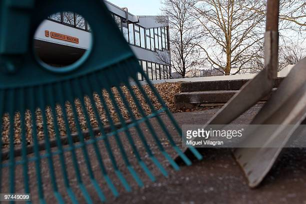 A rake and two shovels are pictured in front of the Albertville School on March 5 2010 in Winnenden Germany Tim Kretschmer opened fire on teachers...
