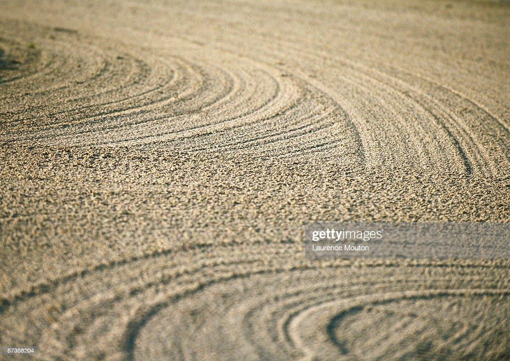 Raked sand trap, full frame