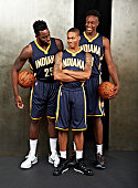 Rakeem Christmas Joseph Young and Myles Turner of the Indiana Pacers poses for a portrait during the 2015 NBA rookie photo shoot on August 8 2015 at...