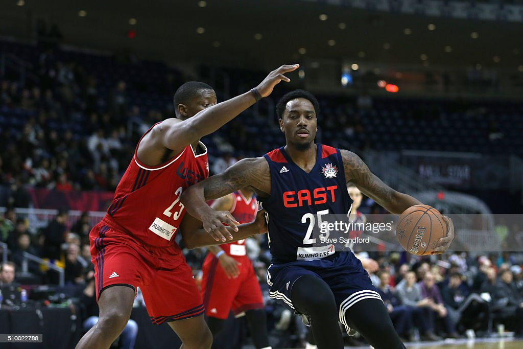 <a gi-track='captionPersonalityLinkClicked' href=/galleries/search?phrase=Rakeem+Christmas&family=editorial&specificpeople=7621175 ng-click='$event.stopPropagation()'>Rakeem Christmas</a> #25 of the East handles the ball against the West during the NBA D-League All-Star Game 2016 presented by Kumho Tire as part of 2016 All-Star Weekend at the Ricoh Coliseum on February 13, 2016 in Toronto, Ontario, Canada.