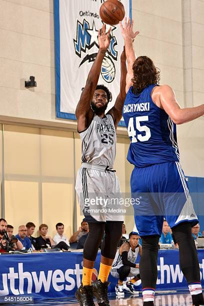 Rakeem Christmas of the Indiana Pacers shoots against Jordan Bachynski of the Detroit Pistons during the Orlando Summer League on July 5 2016 at...