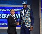 Rakeem Christmas the 36th pick overall in the NBA Draft by the Minnesota Timberwolves poses for a photo Mark Tatum during the 2015 NBA Draft at the...