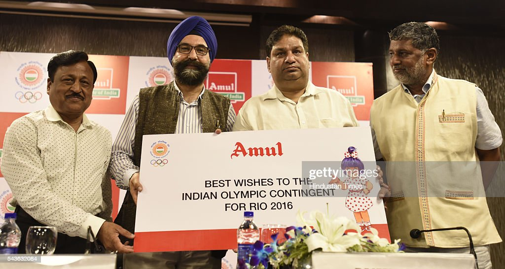 Rakesh Gupta Indian Olympic Association chef de mission and Joint Secretaries IOA, RS Sodhi Managing Director Gujarat Cooperative Milk marketing federation ( Amul) and Rajeev Mehta Secretary General Indian Olympic Association ( IOA) Anandeshwar Pandey Secretary General IOA, during the announcement of AMUL sponsorship for the RIO 2016 Olympic gameson June 29, 2016 in New Delhi, India.