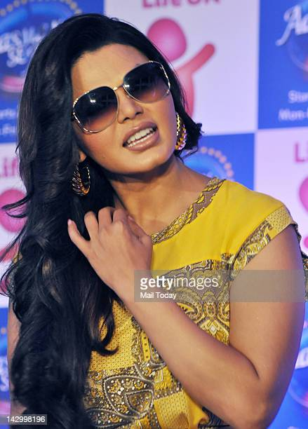 Rakhi Sawant address the media during the press meet of TV show Aasman Se Aage held at Blue Sea in Mumbai
