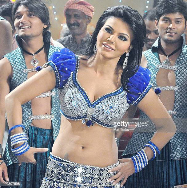 Rakhi Sawant poses during the filming of the forthcoming Hindi film Rakhtbeej in Mumbai on Tuesday August 9 2011