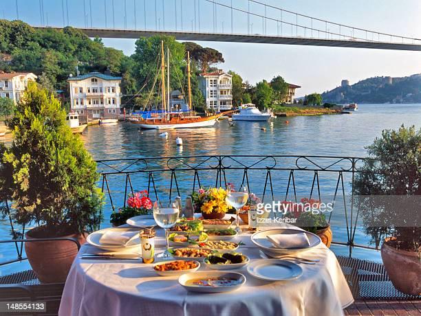 Raki table in the Bosphorus.