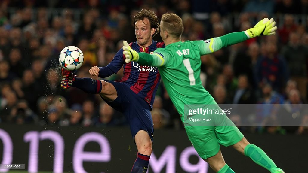 Rakitic of FC Barcelona scores a goal during the UEFA Champions League Round of 16 second leg match between FC Barcelona and Manchester City at Camp Nou on March 18, 2015 in Barcelona, Spain.