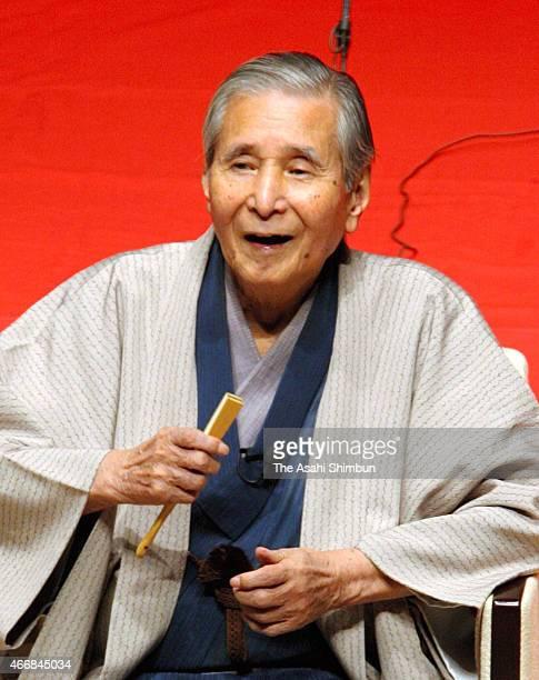 Rakugo performer Katsura Beicho performs on September 12 2012 in Tokyo Japan