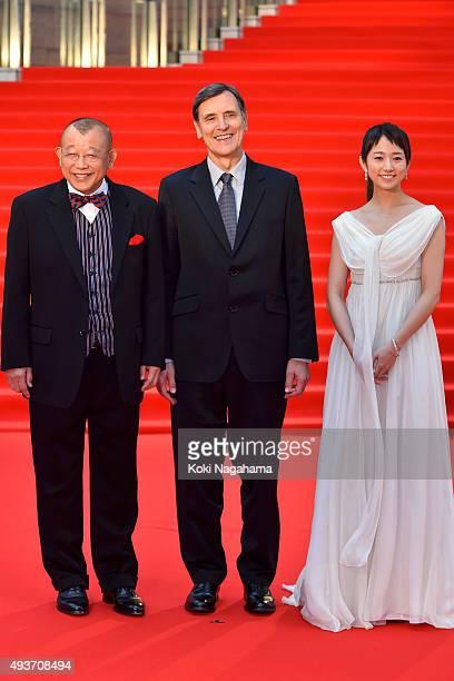 Rakugo storyteller Shofukutei Tsurube and Director Jacques Cluzaud and Actress Fumino Kimura attend the opening ceremony of the Tokyo International...