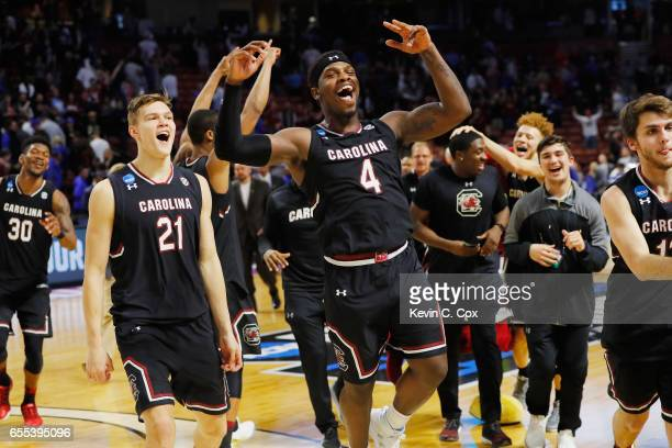 Rakym Felder of the South Carolina Gamecocks celebrates defeating the Duke Blue Devils 8881 in the second round of the 2017 NCAA Men's Basketball...