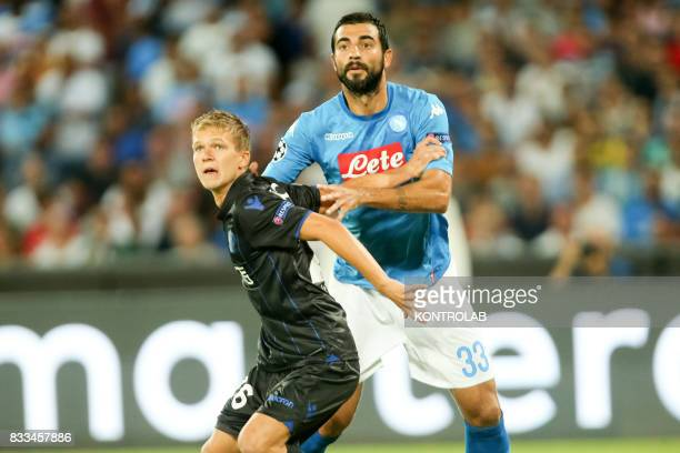 Raúl Albiol Tortajada Naples defender and Vincent Koziello midfielder of Nice during the match between SSC Napoli and OGC Nice to qualify for the...