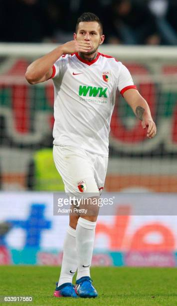 Ral Bobadilla of Augsburg blows a kiss during the Bundesliga match between FC Augsburg and Werder Bremen at WWK Arena on February 5 2017 in Augsburg...
