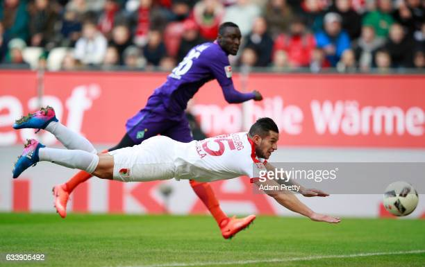 Ral Bobadilla of Augsburg heads a shot at goal during the Bundesliga match between FC Augsburg and Werder Bremen at WWK Arena on February 5 2017 in...