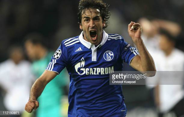 Raúl Gonzalez of Schalke celebrates the first goal during the UEFA Champions League quarter final second leg match between FC Schalke 04 and Inter...