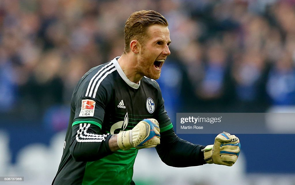 Ralf Faehrmann, goalkeeper of Schalke celebrates during the Bundesliga match between FC Schalke 04 and VfL Wolfsburg at Veltins-Arena on February 6, 2016 in Gelsenkirchen, Germany.