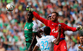Ralf faehrmann goalkeeper of Schalke makes a save during the Bundesliga match between SV Werder Bremen and Schalke 04 at Weserstadion on August 15...
