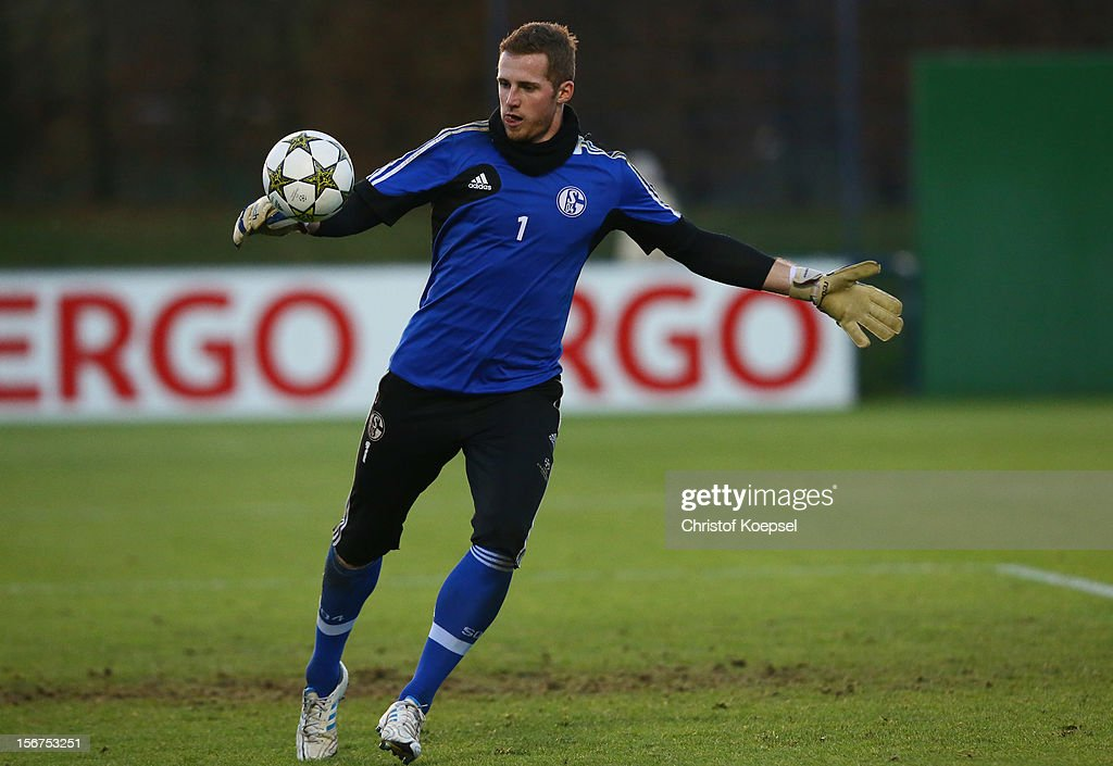 Ralf Faehrmann of Schalke 04 attends the training session at the training ground ahead of the UEFA Champions League group B match between FC Schalke 04 and Olympiakos Piraeus on November 21, 2012 in Gelsenkirchen, Germany.