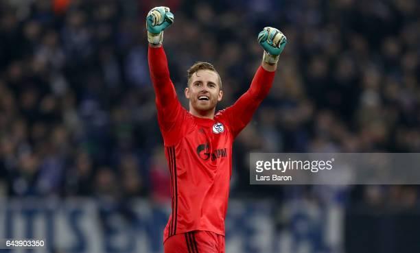 Ralf Faehrmann of Schalke celebrates during the UEFA Europa League Round of 32 second leg match between FC Schalke 04 and PAOK Saloniki at...