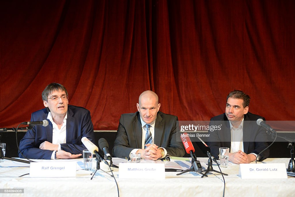 Ralf Grengel, Matthias Große and Dr. Gerald Lutz during press conference on may 25, 2016 in Berlin, Germany.