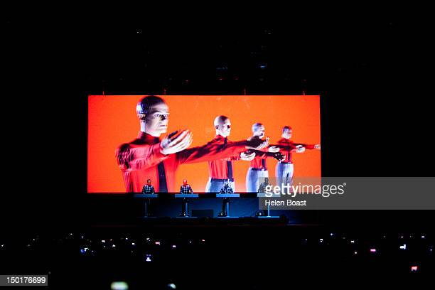 Ralf Hütter Fritz Hilpert Henning Schmitz and Stefan Pfaffe of Kraftwerk perform on stage during Way Out West on August 11 2012 in Gothenburg Sweden