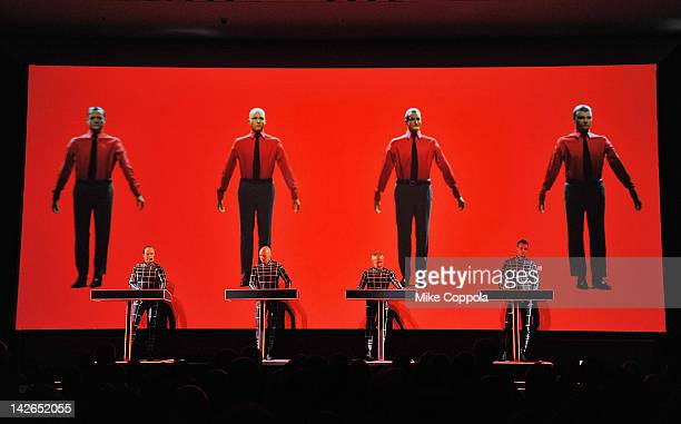 Ralf Hütter Henning Schmitz Fritz Hilpert and Stefan Pfaffe of the band Kraftwerk perform during the Kraftwerk Retrospective 1 2 3 4 5 6 7 8 Autobahn...