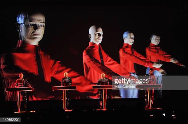 Ralf Hütter Henning Schmitz Fritz Hilpert and Stefan Pfaffe of the band Kraftwerk perform during the Kraftwerk Retrospective 1 2 3 4 5 6 7 8 Autobahn...
