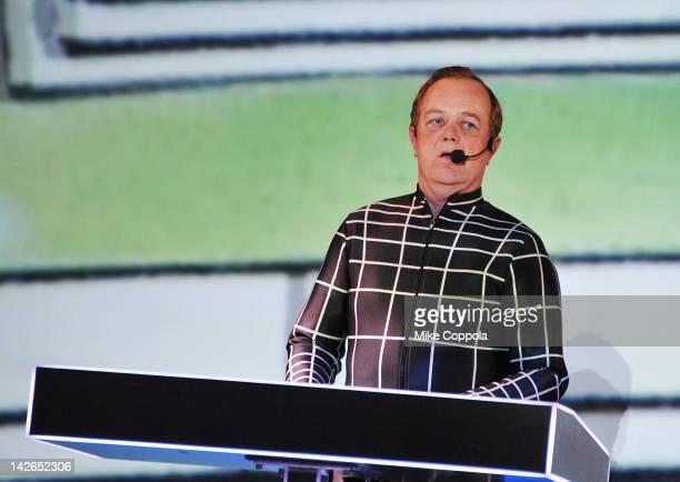 Ralf Hütter of the band Kraftwerk performs during the Kraftwerk Retrospective 1 2 3 4 5 6 7 8 Autobahn at The Museum of Modern Art on April 10 2012...