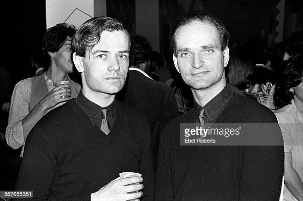 Ralf Hutter and Florian Schneider of Kraftwerk at a Kraftwerk promotional party for the 'Man Machine' record held in New York City on April 6 1978