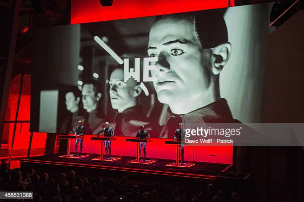 Ralf Hutter Fritz Hilpert Henning Schmitz and Falk Grieffenhagen from Kraftwerk perform at Fondation Louis Vuitton on November 6 2014 in Paris France