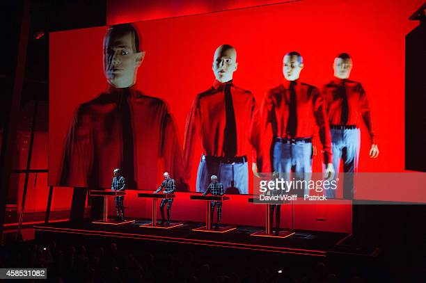 Ralf Hutter Fritz Hilpert Henning Schmitz and Falk Grieffenhagen from Kraftwerk perform at Fondation Louis Vuitton on November 6 2014 in Paris France
