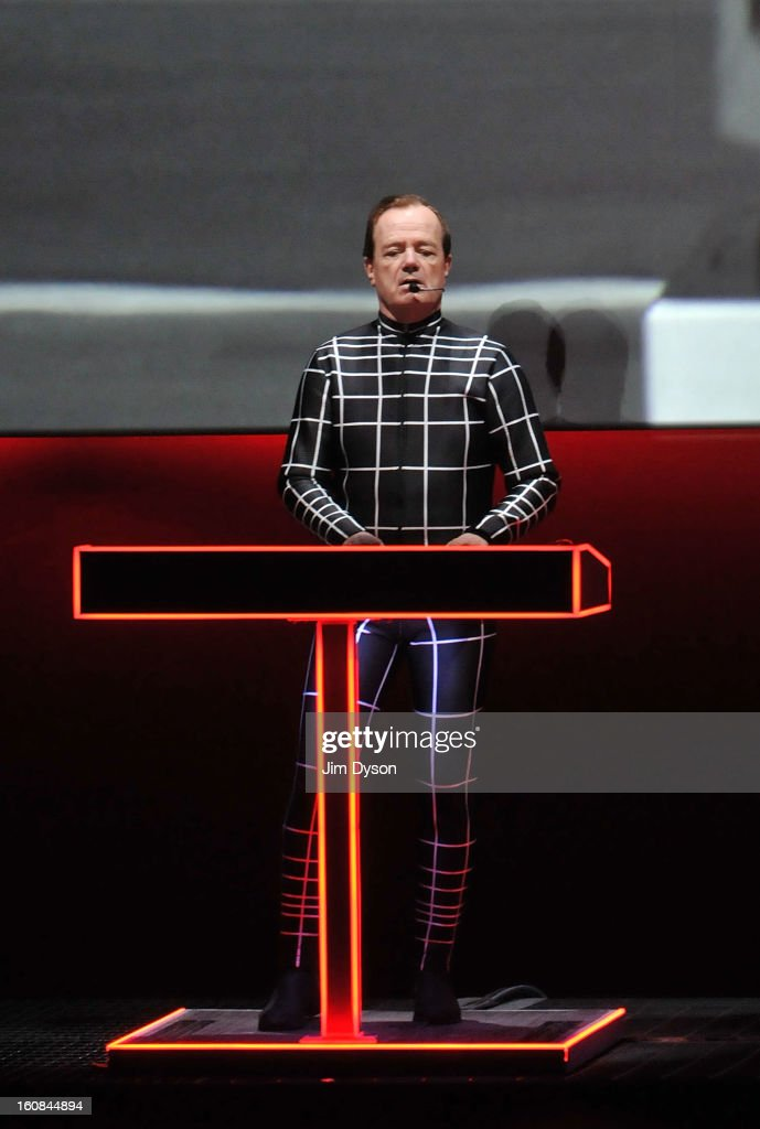 Ralf Hutter, of German electronic pioneers Kraftwerk, performs live on stage during the first night of their Catalogue 12345678 retrospective at the Tate Modern Turbine Hall on February 6, 2013 in London, England.