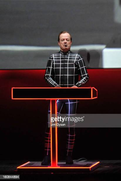 Ralf Hutter of German electronic pioneers Kraftwerk performs live on stage during the first night of their Catalogue 12345678 retrospective at the...